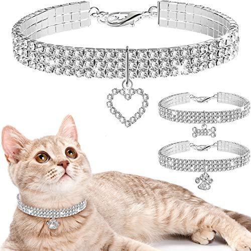 Weewooday 3 Piezas Collares de Perros de Diamantes de Imitación Brillantes Collares de Mascotas con Colgante Collar de Gato de Cristal Ajustable Elástico para Mascotas Pequeñas (Blanco)