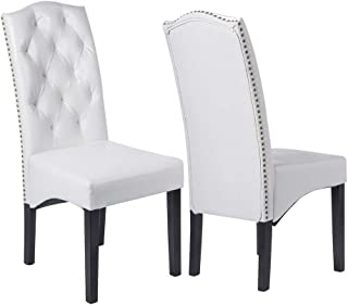 Set of 2 Kitchen Dining Chairs, PU Leather Dining Chair Dining Room Set with Sturdy Wood Legs for Home Kitchen Living Room Restaurant, White