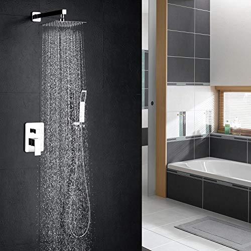 hm 12 Zoll Duschsystem,Wandmontage Regendusche,304 Edelstahl Duschset Duschsystem,Duschsystem Regendusche Eckig Duschpaneel Duscharmatur Duschset
