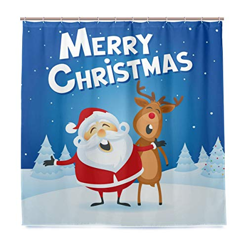 ZZAEO Christmas Santa Claus Reindeer Shower Curtain, 72x72 inch Watercolor Polyester Bathroom Curtain with Hooks for Home Decor