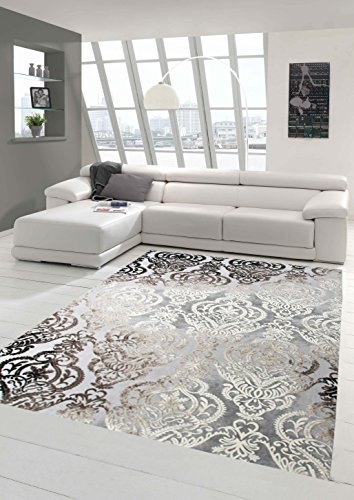 Designer Teppich Moderner Teppich Wollteppich Meliert Wohnzimmerteppich Wollteppich Ornament Grau Cream Taupe Größe 80x150 cm