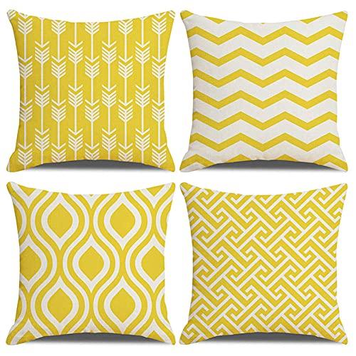 Funda de Cojín 24x24in/60x60cm Juego de 4 Funda de Cojín Funda de Almohada Impresión a doble cara Cuadrado Decor Funda de Cojín,para sofá del dormitorio hogar Decor (Geometría de onda amarilla) G725