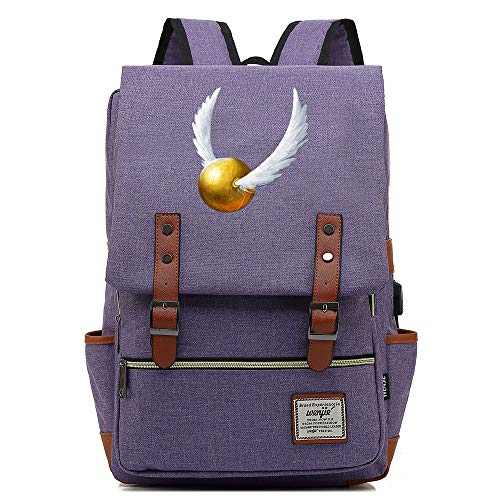 NYLY Mochilas de Viaje de Ocio Juvenil niñas Bolsas de la Escuela de la Moda Estudiante Retro Rucksack Hogwarts-Golden Snitch Unisex Púrpura