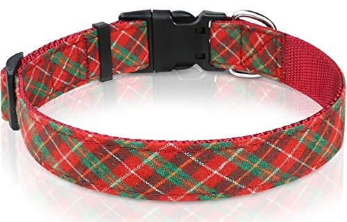 Taglory Hundehalsband, Verstellbare Rot & Grün Gitter Halsbänder für Welpen und...