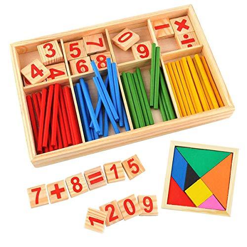 Mengger montessori matematicas juguetes Palillos de Madera Números Matemáticas Juguete Entrenamiento para Niños con rompecabezas educativos Bloques tarjetas Aprendizaje Preescolar Aritmética