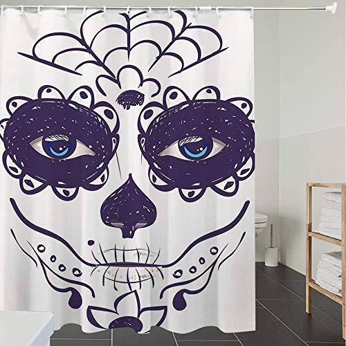 Duschvorhänge, Textil Bad Vorhang aus Polyester, Anti-Schimmel, Tag der Toten Dekor, Dia de los Muertos Zucker Schädel Mädchen Gesicht mit Maske,Blickdicht, Wasserdicht, Waschbar, 180X200cm