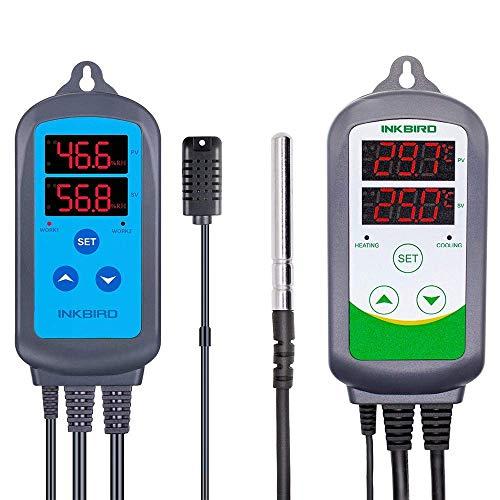 Inkbird IHC-200 e ITC-308 Regolatore di Umidità e Termoregolatore Digitale a Doppio Relè per Homebrew, Serra, Allevamento, Rettili