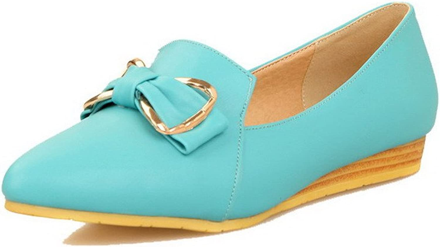 WeenFashion Women's Pull-On PU Closed-Toe Low-Heels Solid Court shoes