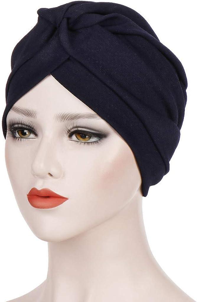 GreatestPAK Damen Einfarbig Zopf Kopf Mütze Kopftuch Hijab Druck Rüsche Turban Marine_13