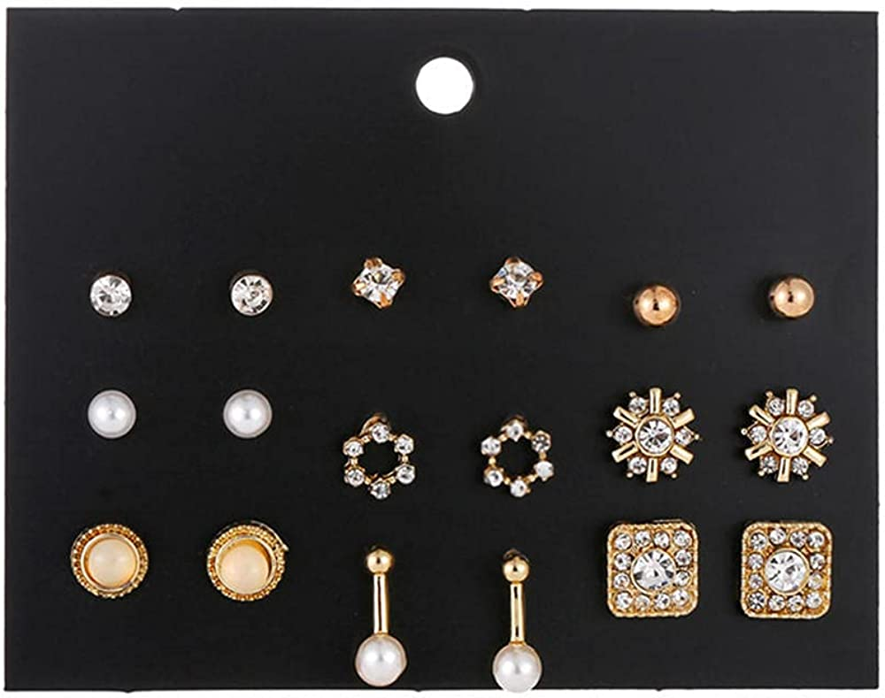 Super sale period limited Round Earrings1 Card Memphis Mall 9 Pairs Of Flowers And Gold Diamond Silver