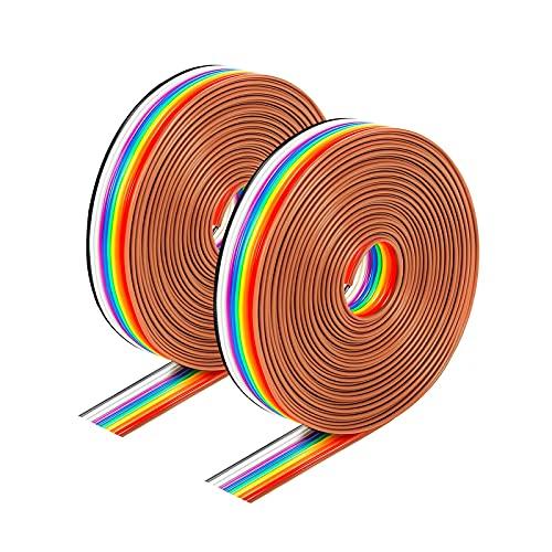 Fyfjur 28 AWG Elektronik Elektrischer Draht Kit, 6 m Isolierschlauch PVC Kabel Schutz Schlauch, Litzen Silikon Leitungen Draht Verzinntes Kupfer Kabel 10 Farbe Spule zur Verlegung im Freien, Erdreich