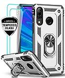 LeYi Funda Huawei P Smart 2019 / Honor 10 Lite con [2-Unidades] Cristal Vidrio Templado,Armor Carcasa con 360 Grados Anillo iman Soporte Silicona TPU Bumper Antigolpes Case para Movil P Smart,Plata