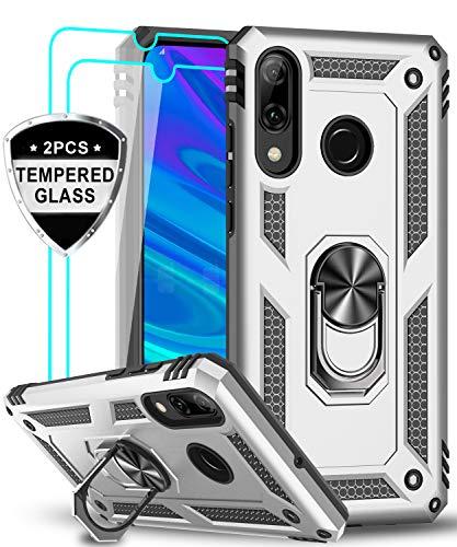 LeYi für Huawei P Smart 2019 Hülle Honor 10 Lite Handyhülle mit Panzerglas Schutzfolie(2 Stück), 360 Grad Ringhalter Cover TPU Bumper Schutzhülle für Hülle Huawei P Smart 2019 Handy Hüllen Silber