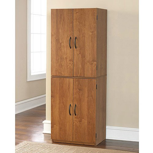Tall Storage Cabinet with 4 Doors Pantry Cupboard Has Two Adjustable Shelves and One Fixed Shelf. Guaranteed. Kitchen Cabinets Store Cookbooks and Pantry Goods. Use in Bedroom or Dorm for Linens, Towels. In the Garage, It's a Utility Supply Closet. (Alder)
