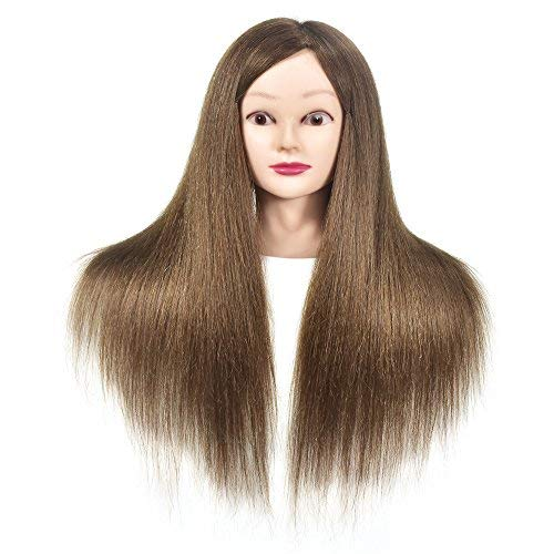 Cabeza de maniquí con pelo humano 100% profesional, práctica de peluquería, cabezales de muñeca con abrazadera