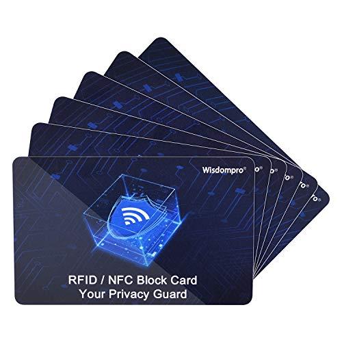 6-Pack RFID Blocking Cards, Wisdompro NFC Contactless Card Protection Debit Credit Card Passport Card Protector Blocker for Men & Women, Wallet & Purse Shield