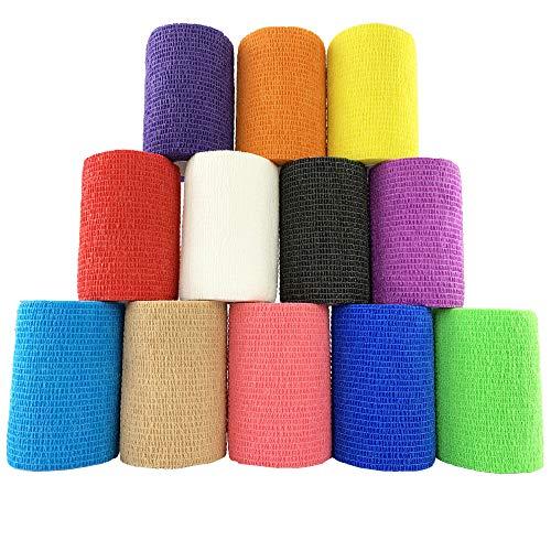 Inksafe: vendajes cohesivos autoadhesivos de colores variados (7,5 cm x 4,5 m, 12 unidades)