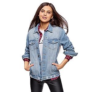 oodji Ultra Damen Übergroße Jeansjacke