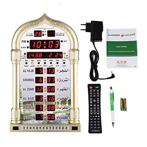 Muslimische Uhr, islamischer Wandkalender Azan Moschee Gebetsuhr Islam weltweit Gebetszeit MAKKAH Gebetsmusik Digitalanzeige Wanduhr EU Plug 110v-240V