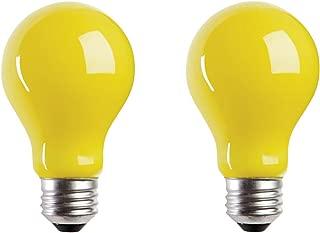 A19 Incandescent Yellow Bug Light Bulb, 60W, E26 Medium Base, 130V, CSA Certified, (2 Pack)