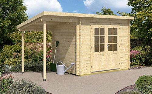 CARLSSON Alpholz Gartenhaus Martina-28 aus Massiv Holz Gerätehaus mit 28 mm Wandstärke Garten Holzhaus mit Schleppdach Geräteschuppen 450 x 200 cm Pultdach