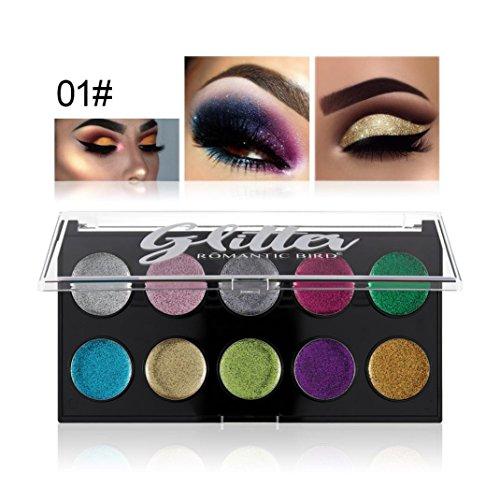 10 couleurs Makeup Shimmer Glitter Poudre ombre à paupières Matt Eyeshadow Brush Set de maquillage,Waterproof,Fards à paupières,Professionnel Cosmétiqu Paillettes Palette (100, A)