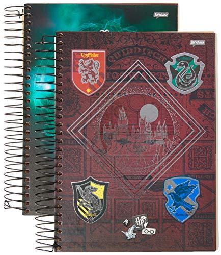 Caderno de 15 Matérias Capa Dura, Pacote com 2 Cadernos, 300 Folhas, Cores Sortidas, Jandaia, Modelo 63602