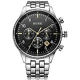 BUREI Herren Chronograph Armbanduhr Schwarzem-dial mit Saphirglaslinse Datum Kalender und Edelstahl Armband Männer Uhren (Schwarz-Gold)