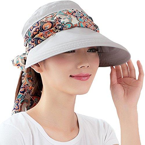 Kuyou Kuyou Sommer Strand Hat Damen Outdoor Sport Hut Anti-UV Sonnenhut (Grau)