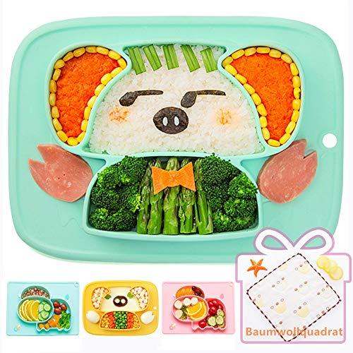 Baby Teller silikon tischset Silikon Tischset für Baby KleinkinderTragbar Babyteller schüssel Teller Baby Rutschfest Spülmaschinen-und mikrowellengeeignet,grün