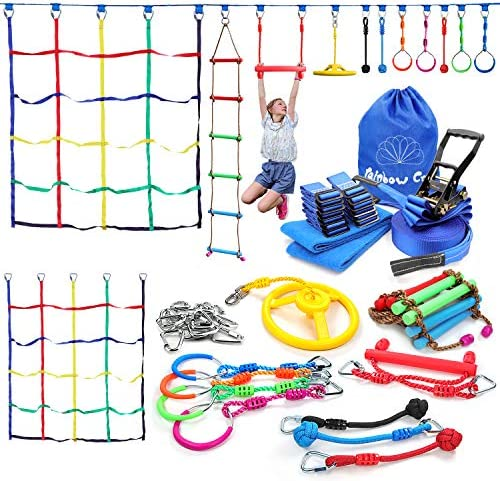 Rainbow Craft 50ft Ninja Warrior Obstacle Course for Kids with 11 Accessories 17 Removable Buckle product image