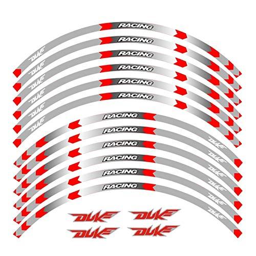 Pegatinas de Llantas Motocicletas Rueda Pegatinas Rumbo Reflectante Moto Stripe Tape 17inch Reflective Pegatina for Duke 200 390 690 990 (Color : 2)