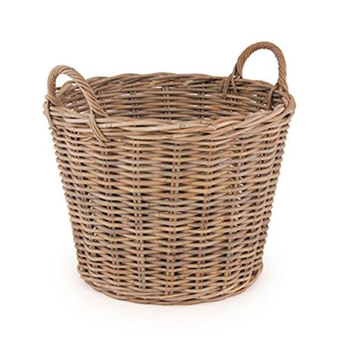 Grey Kubu Wicker Round Basket Robust Hand-Crafted Natural Finish