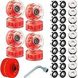 8 Piece LED Light up Roller Skate Wheels Luminous Skate Wheels with Skate Roller Bearings 32 x 58 mm (Red Light)