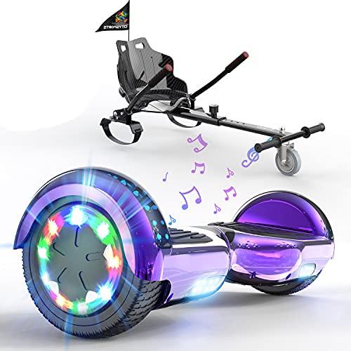 SOUTHERN-WOLF Patinete Eléctrico Hoverboard, Hover 6.5 Pulgadas Board Leds, Potente batería de Litio, Bluetooth, Self Balancing, monopatín eléctrico Auto-Equilibrio (Purple)