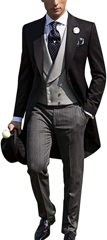 Newdeve Wedding Suits for Men 3 Pieces Morning Suits Tuxedo Groom Suits