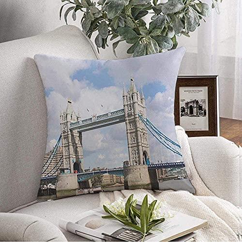 Funda de Fundas de Almohada Cozy London Famoso Tower Bridge Urban England Signos Símbolos Azules Capital Turismo Local Monumentos de Verano Throw Pillow Cojín Funda para sofá Sofá Decoración del hoga