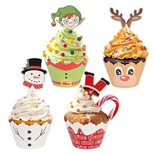 ZoomSky 24Stk Weihnachten Cupcake Wrappers Papier Muffin Backen Hüllen Kuchen Weihnachtsmann Elf Schneemann Rentier Cupcake Deko für Weihnachtsfest