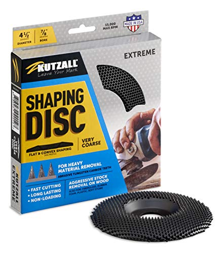 """Kutzall Extreme Shaping Disc - Very Coarse, 4-1⁄2"""" (114.3mm) Dia. X 7⁄8"""" (22.2mm) Bore - Woodworking Angle Grinder Attachment for DeWalt, Bosch, Milwaukee, Makita. Abrasive Tungsten Carbide, SD412X120"""