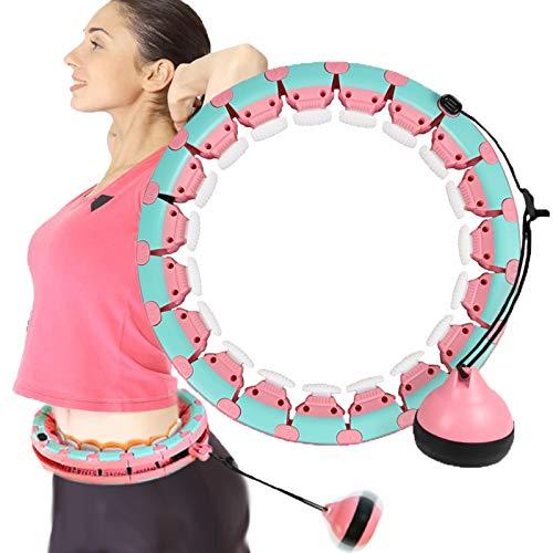 Smart Hula Hoop Reifen für Anfänger, Smart Hula Hoop Reifen Erwachsene mit 24 Massagenoppen Abnehmbare, Nicht Fällt 360°Surround Massage Fitness Hula Hoop für Kinder Erwachsene (Blau und Grün)