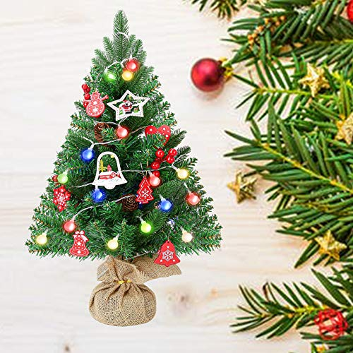 Artificial Mini Christmas Tree with 3m LED String Lights - Easric 60cm Pre-Lit Tabletop Green Tree with Wooden Base 14pcs Ornaments Small DIY Christmas Decorations for Room Party Office Home Kids Gift