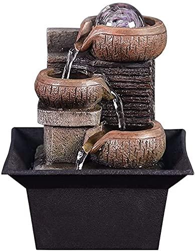 WDXJC Fontaine de style européen de la décoration de la maison créative de l'eau courante avec LED Boule à laminoir légère, pompe électrique et son apaisant, adapté à la décoration intérieure de la mé