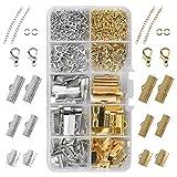 370 piezas de accesorios de fabricación de joyas Cierre de cadena Cadena de extensión Cierre de langosta Placas de sujeción Engarces Extremos de abrazadera Extensiones de cadena Anillos de salto