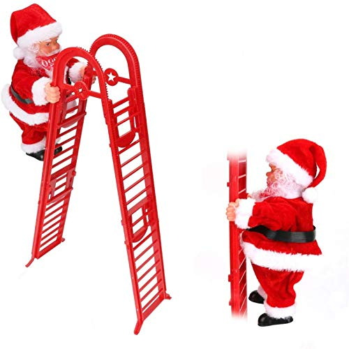Electric Climbing Santa Claus Ladder with Music, Global-store 2020 New Year Creative Gift Christmas Hanging Ornament for Christmas Tree Party Home Door Wall Decoration Supplies