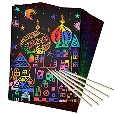 ZMLM Scratch Paper Art Set, 50 Piece Rainbow Magic Scratch Paper for Kids Black Scratch it Off Art Crafts Notes Boards Sheet with 5 Wooden Stylus for Easter Party Game Christmas Birthday Gift by ZMLM
