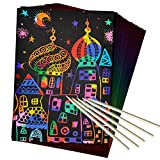 ZMLM Scratch Art Set, 50 Piece Rainbow Magic Scratch Paper for Kids Black Scratch Off Art Crafts Notes Boards Sheet with 5 Wooden Stylus for Easter Party Game Christmas Birthday Gift