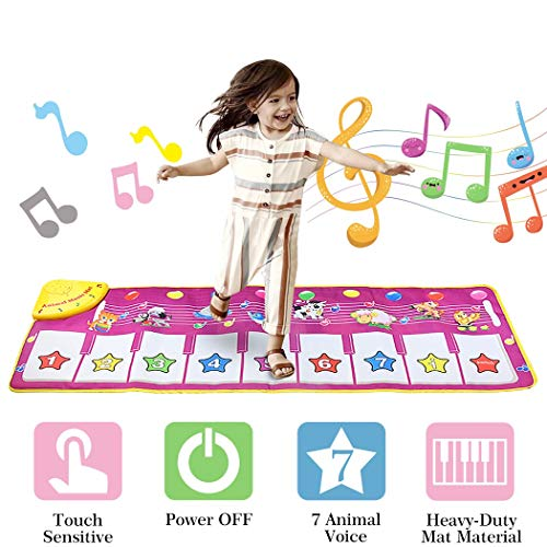 AivaToba Toys for 1,2 ,3 Years Old Girls,Avitoba Girl Gifts Musical Piano Keyboard Playmat Toy, Funny Dancing Mat for Babies Toddler Boys and Girls Presents (39 * 14 Inches)