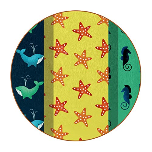 6 posavasos redondos de piel de microfibra para bebidas, estilo rústico, decoración del hogar, creatividad para cocina, sala de estar, patrones de playa de verano, estrellas de mar