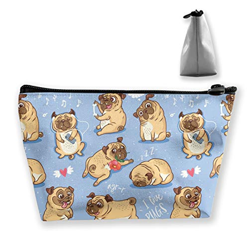 Cute Pug Dog Cosmetic Bags for Women, Large Capacity Travel Makeup Pouch Portable Travel Waterproof Toiletries Accessories Organizer Gifts