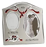 Haysom Interiors Two Tone Silver Plated 40th Ruby Anniversary Double Picture Frame
